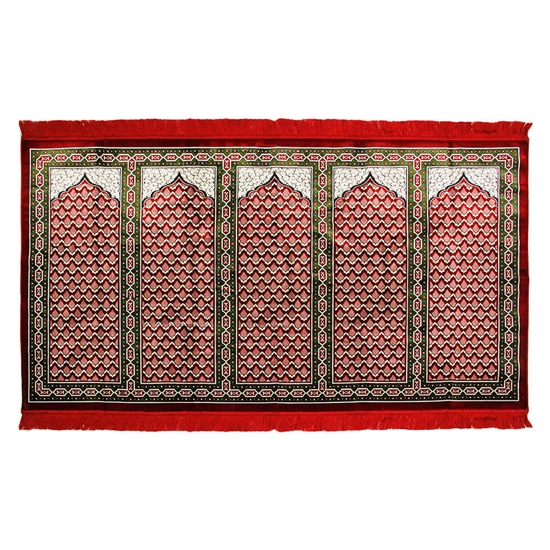 Five Person Red Lotus and Granite Archway Design Prayer Rug with Red Tassles