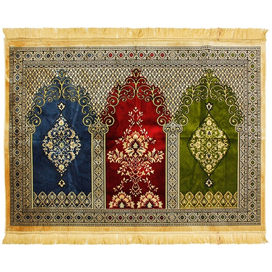 Three Person Tan Fancy Intricate Tri-color Archway Chandelier Design Prayer Rug