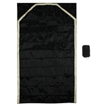 "43"" x 24"" Fancy Black Travel Size Pocket Prayer Rug with Gold Trim"