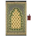 "41"" x 24"" Green and Tan Lightweight Pocket Prayer Rug with Red Carrying Bag"