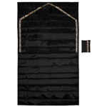 "41"" x 24"" Black Easy Fold Travel Size Pocket Prayer Rug with Red and Tan Trim"