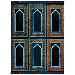 Six Person Navy Blue and Brown Double Layer Prayer Rug with Neon Outlines