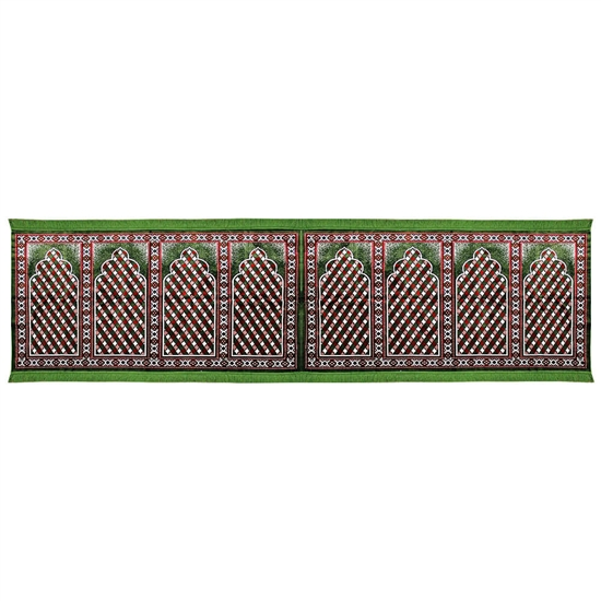 Eight Person Green and Red Diamond Design Prayer Rug with Green Tassles
