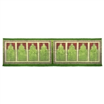 Eight Person Green Greek Key and Diamond Design Prayer Rug with Green Tassles