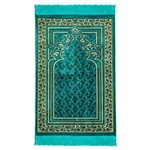 Turquoise Prayer Mat Floral Archway Border Design