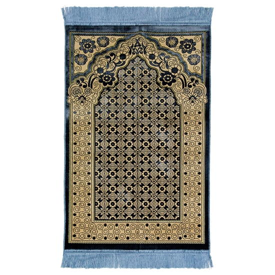 Light Blue Single Prayer Mat with Italian Style Design Archway and Blue Tassles