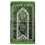 Dark Green Spotted Single Prayer Mat with White Archway Border and Green Tassles
