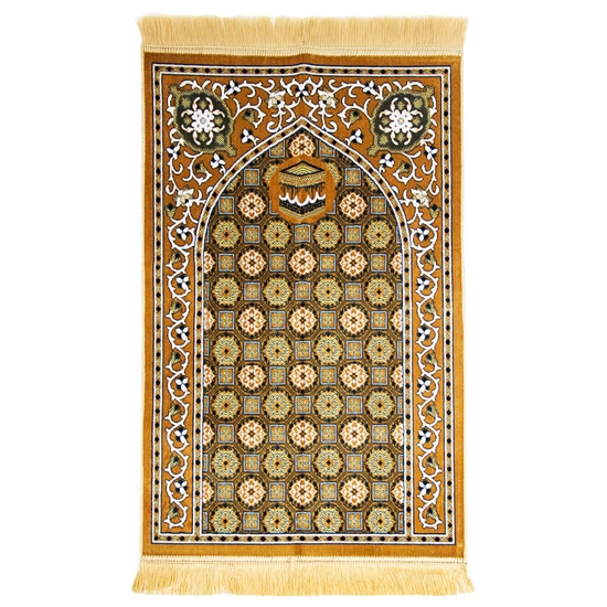 Tan Traditional Kabba Image Suede Prayer Mat with Turkish Design