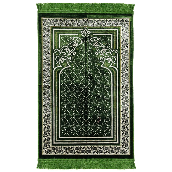 Green Single Prayer Mat with Floral Archway Border Design with Green Tassles