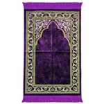 Purple Suede Single Namazlik Authentic Turkish Prayer Mat with Floral Design