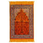 Orange Suede Single Nemazlik Authentic Turkish Prayer Mat with Floral Design