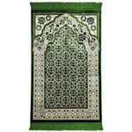 Green Single Prayer Mat with Italian Style Design Archway and Green Tassles