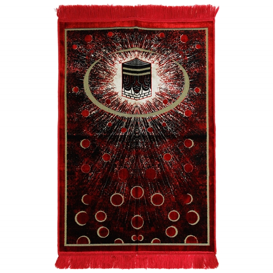 Red Kaaba Image Turkish Prayer Rug with Galaxy Design and Red Tassles