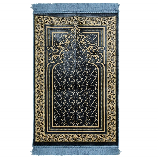 Light Blue Single Prayer Mat with Floral Archway Border Design with Blue Tassles