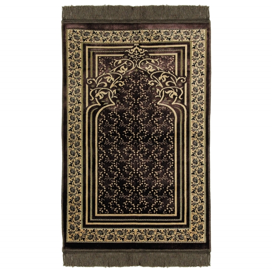 Brown Single Prayer Mat with Floral Archway Border Design with Brown Tassles