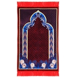 Red Single Suede Authentic Turkish Prayer Mat with Mesh Archway and Red Tassles