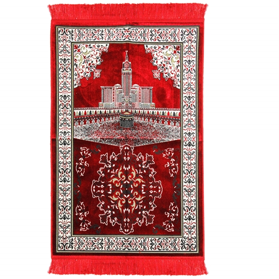 Red Mecca Landscape Image with White Border Design Turkish Prayer Rug