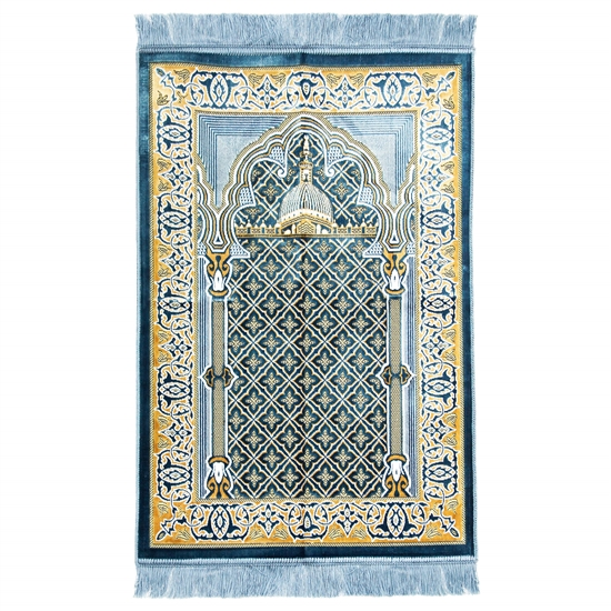 Light Blue and Tan Suede Prayer Rug with Pillar and Nabawi Image with Blue Tassle