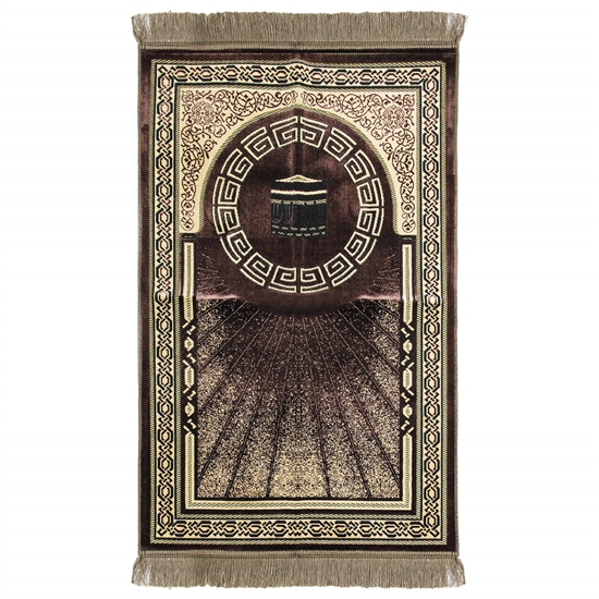 Brown and Tan Border Greek Key and Kaaba Deisgn Authentic Turkish Prayer Rug
