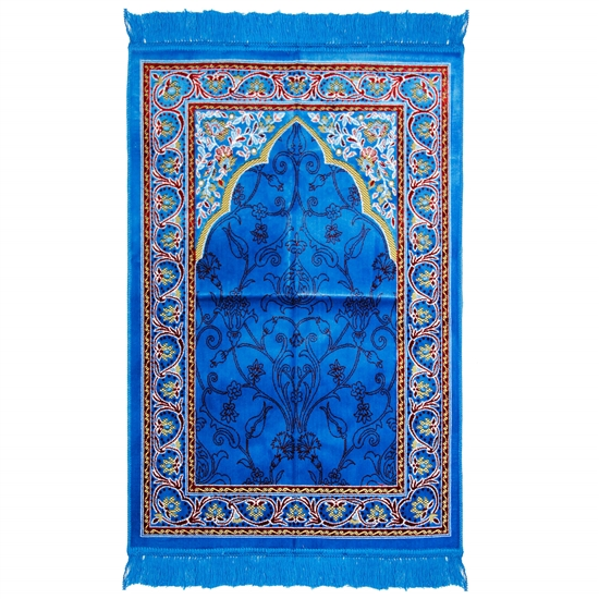 Light Blue Suede Authentic Turkish Prayer Rug with Floral Emrboidered Borders