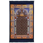 Dark Blue Suede Nabawi Pillar and Archway Turkish Prayer Rug with Blue Tassles