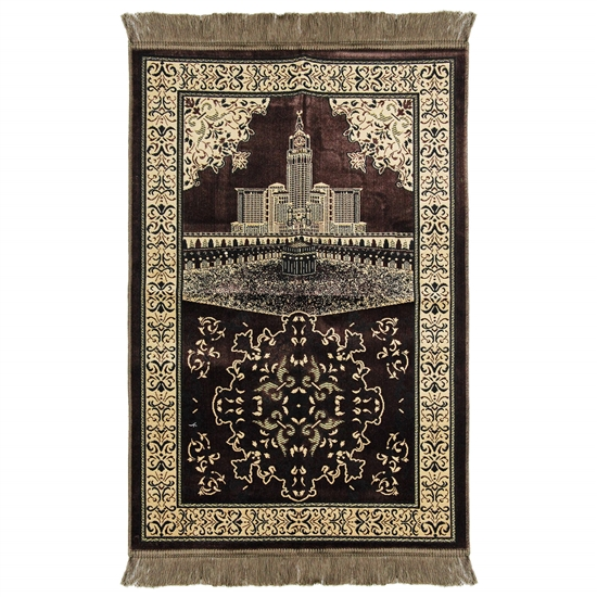 Brown Mecca Landscape Image with Off White Border Design Turkish Prayer Rug