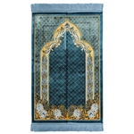 Sky Blue Suede Authentic Turkish Prayer Rug with Mesh Archway and Blue Tassles