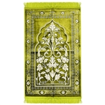 Lime Green Jacquard Style Turkish Prayer Rug with Floral Embroidered Archway