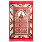 Bright Red Medina Nabawi Turkish Prayer Rug with Tile Archway Design