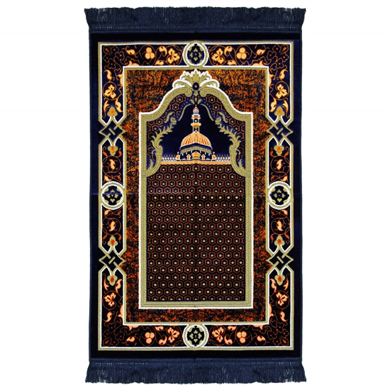 Navy Blue Suede Janamaz Medina Nabawi Image Prayer Rug with Tan Floral Border