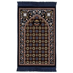 Blue and Tan Traditional Kabba Image Suede Prayer Rug with Turkish Design