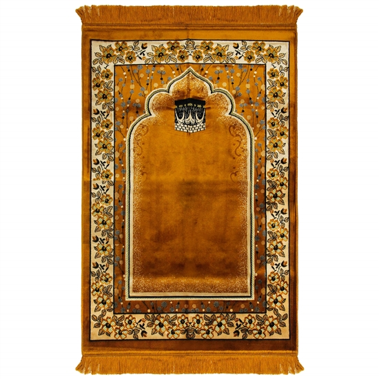 Brown Wide and Large Turkish Prayer Rug with kaaba Image and Tan Flower Border