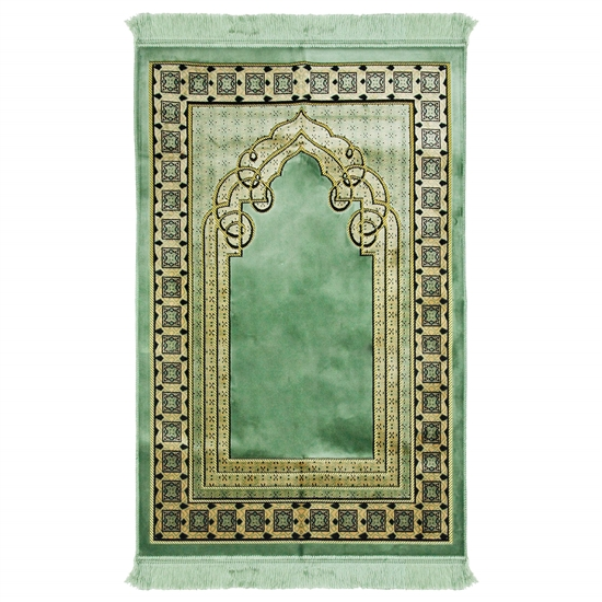 Mint Green and Tan Wide & Large Prayer Rug with Turkish Deisgn Border