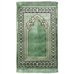 Mint Green and Tan Wide & Large Prayer Rug with Turkish Design White Border