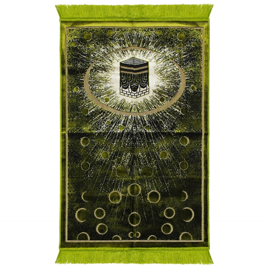 Lime Green Kaaba Image Turkish Prayer Rug with Galaxy Design and Green Tassles