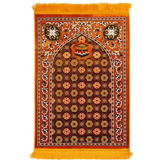 Orange and Brown Traditional Kabba Image Suede Prayer Rug with Turkish Design