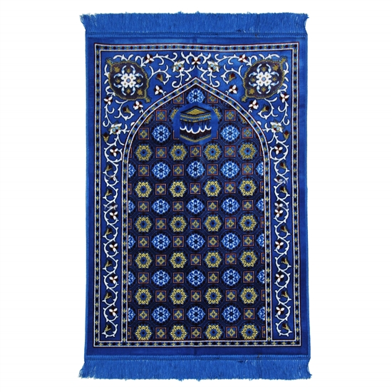 Neon Blue Traditional Kabba Image Suede Prayer Rug with Turkish Design