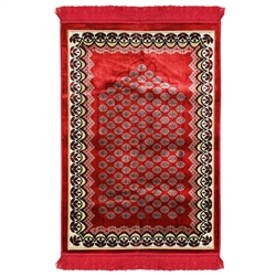 Cherry Red Flower Archway Authentic Turkish Prayer Mat with Plant Border