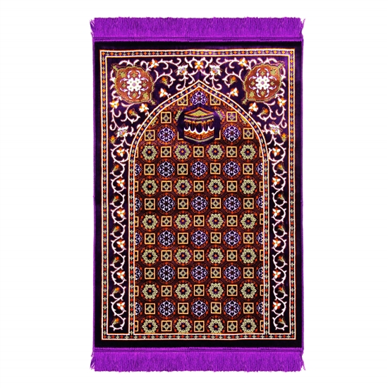 Purple Traditional Kabba Image Suede Prayer Rug with Turkish Design