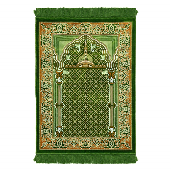 Green Suede Nabawi Pillar and Archway Turkish Prayer Rug with Green Tassles