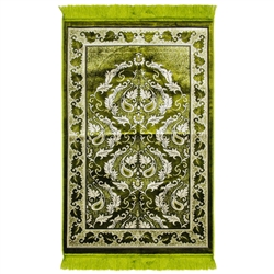 Lime Green Authentic Turkish Prayer Rug Floral Border With Green Tassles