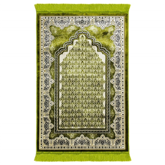 Lime Green Single Prayer Rug with Tan Lotus Border with Archway