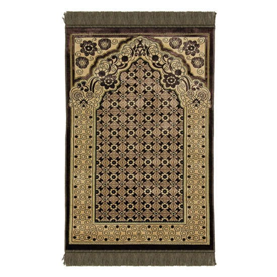 Brown Single Prayer Rug with Italian Style Design Archway and Brown Tassles