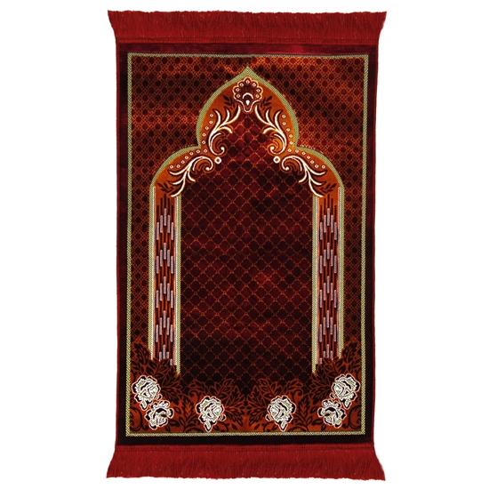 Red and Orange Suede Authentic Turkish Prayer Rug with Mesh Archway Red Tassles