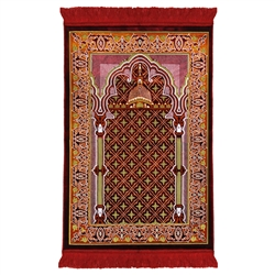 Red and Orange Suede Prayer Rug with Pillar and Nabawi Image Red Tassles