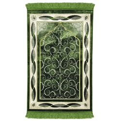 Green Turkish Design Archway Prayer Rug with Double Helix Borders Green Tassles