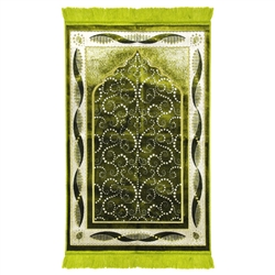 Lime Green Turkish Design Archway Prayer Rug with Double Helix Borders