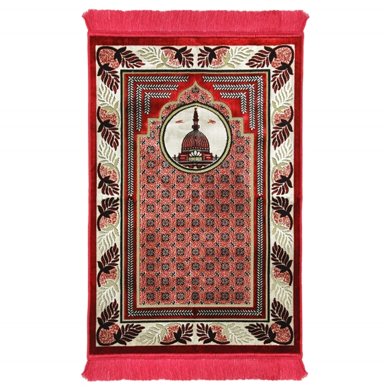 Pink and Tan Prayer Rug with Pillar and Nabawi Image Pink Tassles