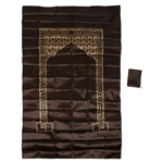 Brown Foldable Pocket Sized Travel Prayer Mat with Carry Bag