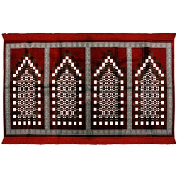 Four Person Red Greek Key & Family Size Prayer Rug